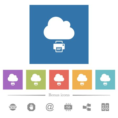 Cloud printing flat white icons in square backgrounds. 6 bonus icons included.