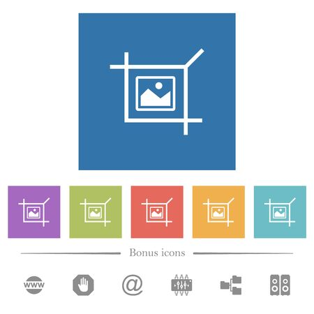 Crop picture flat white icons in square backgrounds. 6 bonus icons included.