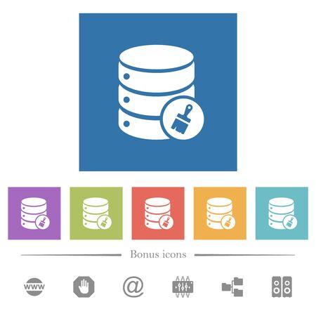 Database paste data flat white icons in square backgrounds. 6 bonus icons included.
