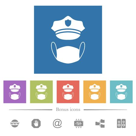 Police hat and medical face mask flat white icons in square backgrounds. 6 bonus icons included.