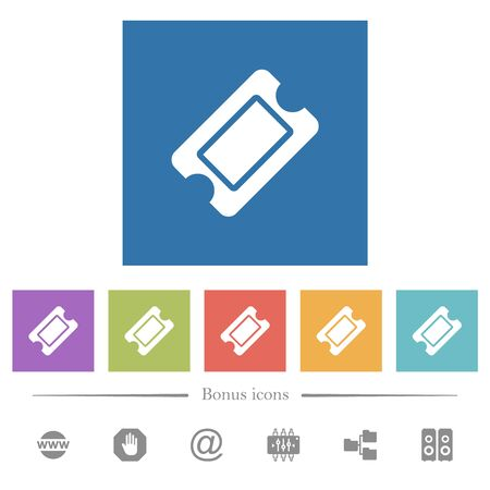 Single ticket flat white icons in square backgrounds. 6 bonus icons included.