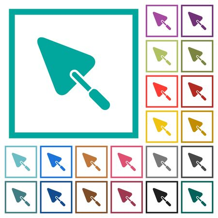 Trowel flat color icons with quadrant frames on white background