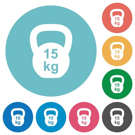 Kettlebel 15 Kg flat white icons on round color backgrounds