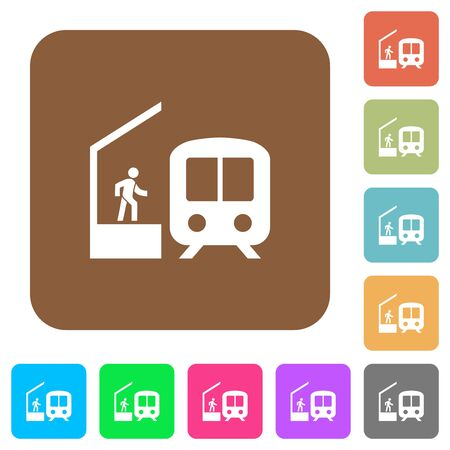 Train station flat icons on rounded square vivid color backgrounds. Illustration