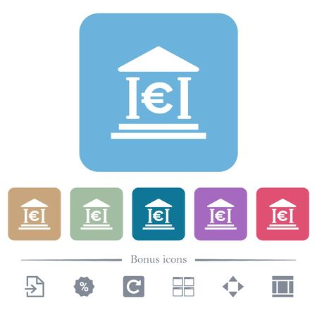 Euro bank office white flat icons on color rounded square backgrounds. 6 bonus icons included Illusztráció