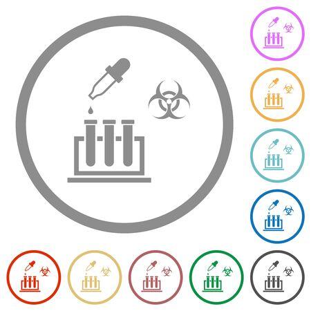 Biological experiment flat color icons in round outlines on white background Ilustração