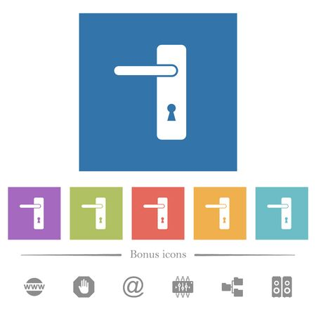Left handed simple door handle flat white icons in square backgrounds. 6 bonus icons included.