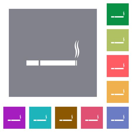 Cigarette flat icons on simple color square backgrounds