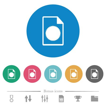 Certificate file flat white icons on round color backgrounds. 6 bonus icons included. Ilustração