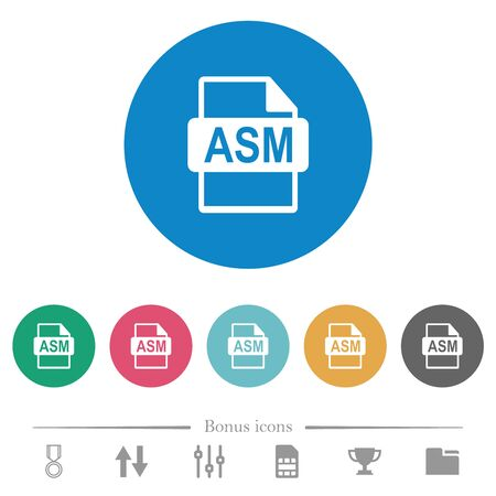ASM file format flat white icons on round color backgrounds. 6 bonus icons included.
