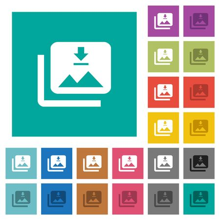 Download multiple images multi colored flat icons on plain square backgrounds. Included white and darker icon variations for hover or active effects.  イラスト・ベクター素材