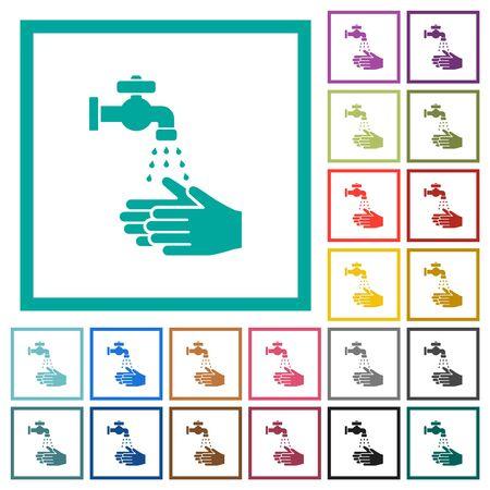 Hand washing flat color icons with quadrant frames on white background Ilustracja