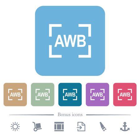 Camera auto white balance mode white flat icons on color rounded square backgrounds. 6 bonus icons included 向量圖像