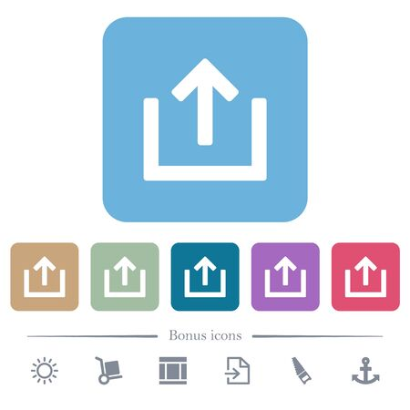 Export item white flat icons on color rounded square backgrounds. 6 bonus icons included