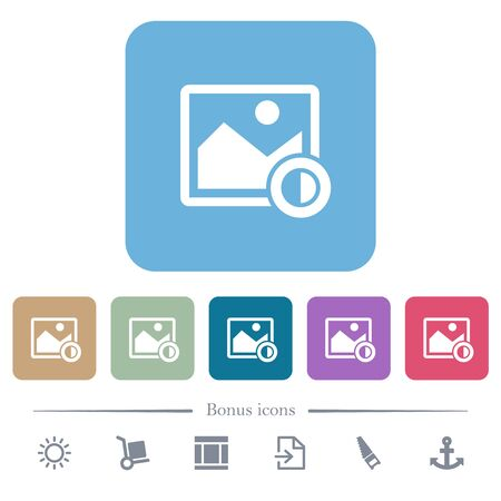 Adjust image contrast white flat icons on color rounded square backgrounds. 6 bonus icons included