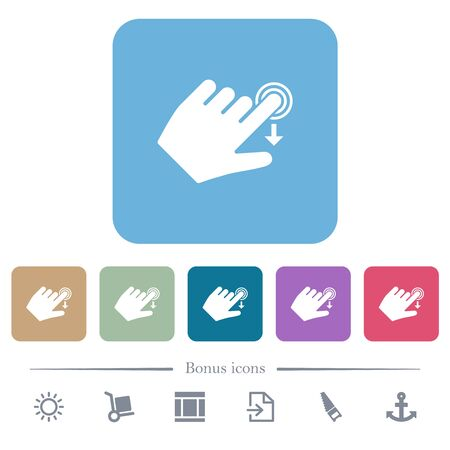 Left handed slide down gesture white flat icons on color rounded square backgrounds. 6 bonus icons included