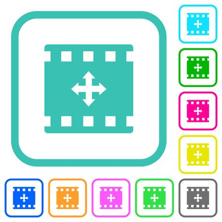 Move movie vivid colored flat icons in curved borders on white background Иллюстрация