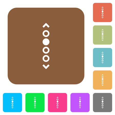 Vertical page navigation flat icons on rounded square vivid color backgrounds. Vettoriali