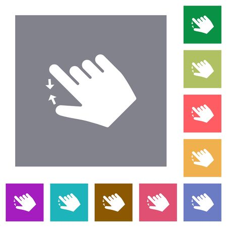Right handed pinch close gesture flat icons on simple color square backgrounds