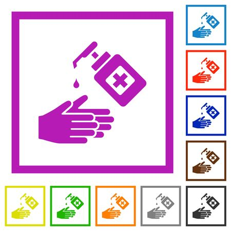 Hand washing with hand sanitizer flat color icons in square frames on white background  イラスト・ベクター素材