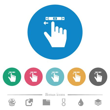 right handed scroll left gesture flat white icons on round color backgrounds. 6 bonus icons included.  イラスト・ベクター素材