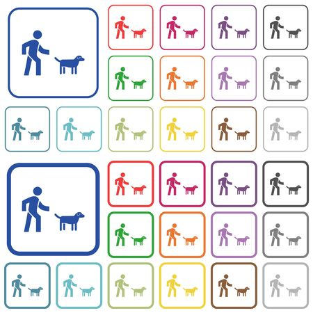 Dog walking color flat icons in rounded square frames. Thin and thick versions included.