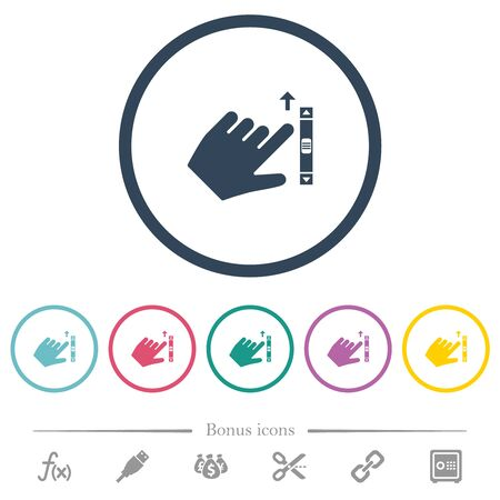 Left handed scroll up gesture flat color icons in round outlines. 6 bonus icons included.
