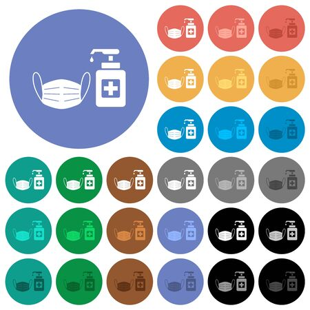 Medical face mask and hand sanitizer multi colored flat icons on round backgrounds. Included white, light and dark icon variations for hover and active status effects, and bonus shades.