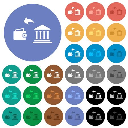Money withdrawal from bank multi colored flat icons on round backgrounds. Included white, light and dark icon variations for hover and active status effects, and bonus shades.
