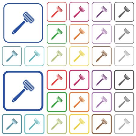 Razor color flat icons in rounded square frames. Thin and thick versions included.