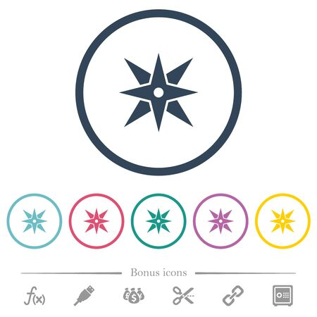 Compass flat color icons in round outlines. 6 bonus icons included.