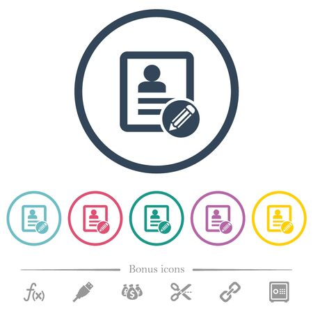 Edit contact flat color icons in round outlines. 6 bonus icons included.