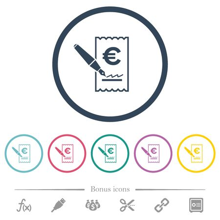 Signing Euro cheque flat color icons in round outlines. 6 bonus icons included. Vectores