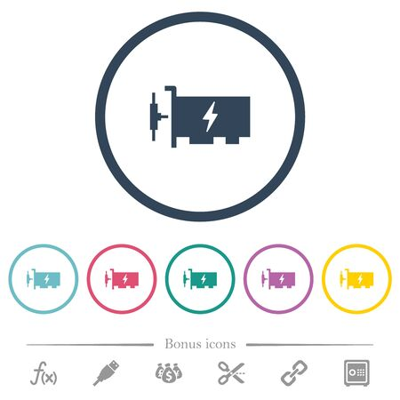Fast ethernet network controller flat color icons in round outlines. 6 bonus icons included.