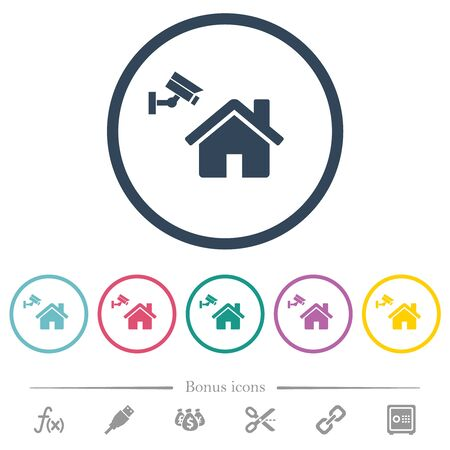 Home security flat color icons in round outlines. 6 bonus icons included.