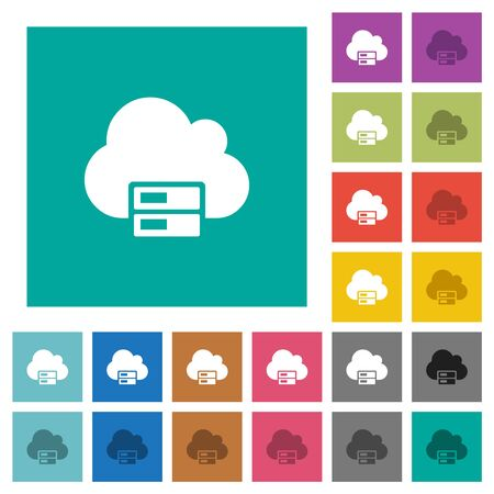 Cloud storage multi colored flat icons on plain square backgrounds. Included white and darker icon variations for hover or active effects.