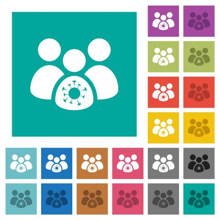 Group covid infection multi colored flat icons on plain square backgrounds. Included white and darker icon variations for hover or active effects.