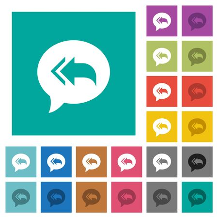 Reply to all recipients multi colored flat icons on plain square backgrounds. Included white and darker icon variations for hover or active effects. Vectores