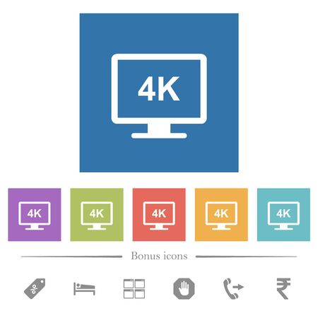 4K display flat white icons in square backgrounds. 6 bonus icons included.