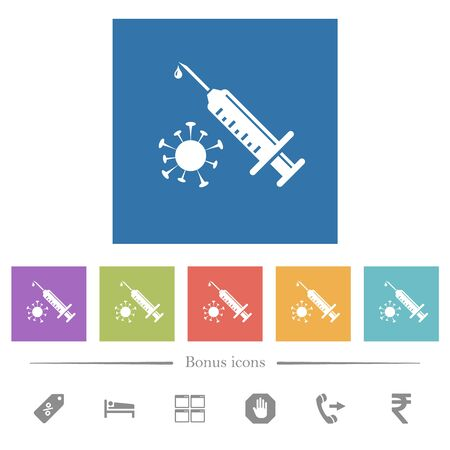 Antiviral injection flat white icons in square backgrounds. 6 bonus icons included. Foto de archivo - 147909951