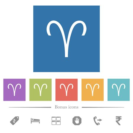 Aries zodiac symbol flat white icons in square backgrounds. 6 bonus icons included. Vectores
