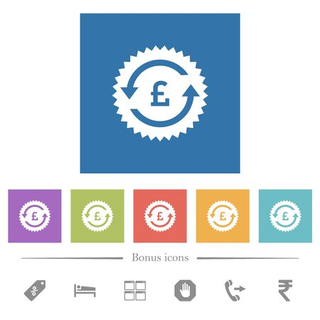 Pound pay back guarantee sticker flat white icons in square backgrounds. 6 bonus icons included.