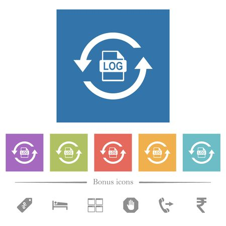 Log file rotation flat white icons in square backgrounds. 6 bonus icons included. Vectores