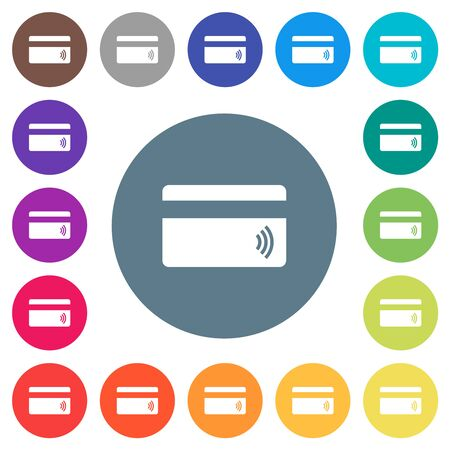Contactless credit card flat white icons on round color backgrounds. 17 background color variations are included. Foto de archivo - 147909971