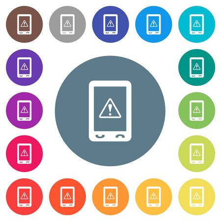 Mobile warning flat white icons on round color backgrounds. 17 background color variations are included. Vectores