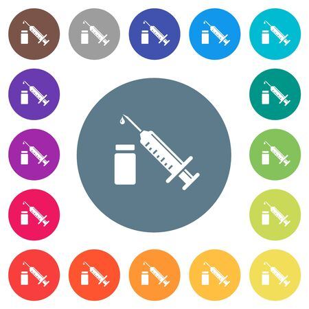Syringe with ampoule flat white icons on round color backgrounds. 17 background color variations are included.