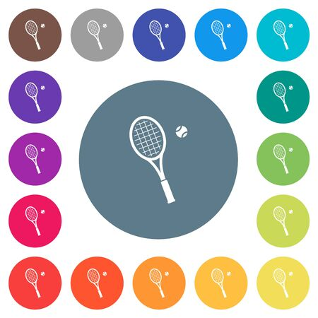 Tennis racket with ball flat white icons on round color backgrounds. 17 background color variations are included.