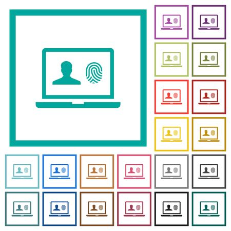 Criminal background check flat color icons with quadrant frames on white background