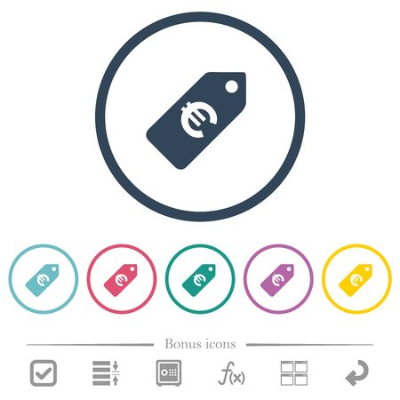 Euro price label flat color icons in round outlines. 6 bonus icons included. Illusztráció
