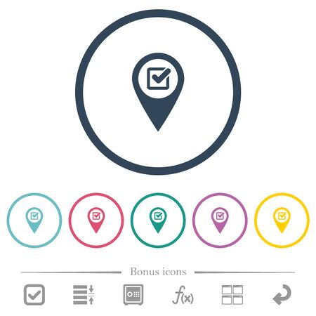 Checkpoint GPS map location flat color icons in round outlines. 6 bonus icons included.